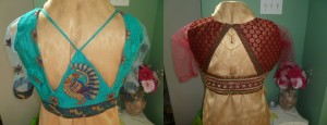 Peacock and pyramid design blouses. View the Saree Blouses designed and created by Vi Threads
